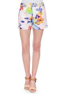 Trina Turk Corbin Floral-Print Perforated Shorts