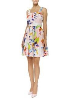 Trina Turk Elin Floral-Print Eyelet Flare Dress