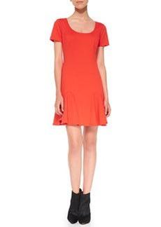 Trina Turk Faith Ponte Flounce Dress, Poppy