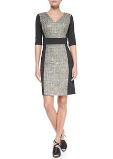 Trina Turk Felicia V-Neck Tweed Panel Dress