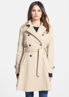 Trina Turk 'Gwyneth' Flared Wool Gabardine Trench Coat (Regular & Petite)