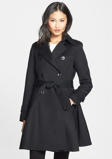 Trina Turk 'Gwyneth' Flared Wool Gabardine Trench Coat (Regular & Petite)