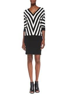 Trina Turk Heidi Chevron-Striped Drop-Waist Dress, Black/White