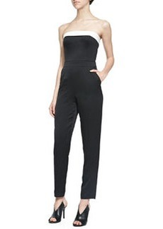 Trina Turk Iona Strapless Fitted Sateen Jumpsuit