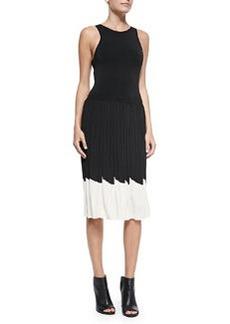 Trina Turk Karolyn Pleated Contrast-Hem Dress