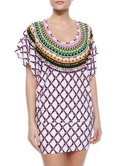 Trina Turk Kon Tiki Embroidered Tie-Waist Tunic