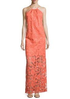 Trina Turk Lace Illusion Maxi Halter Dress, Coral