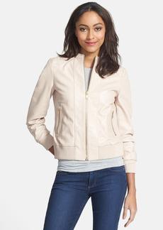 Trina Turk Leather Bomber Jacket