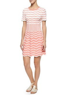 Trina Turk Martinique Short-Sleeve Zigzag Fit & Flare Dress