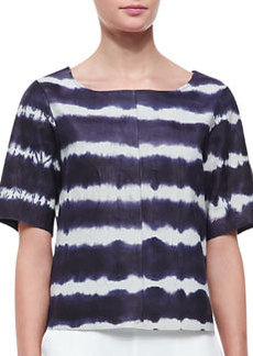 Trina Turk Memphis Tie-Dye Leather Short-Sleeve Top