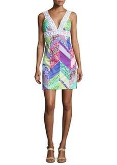 Trina Turk Secret Sleeveless Mixed-Print Dress