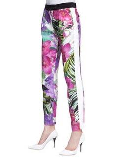 Trina Turk Senia 2 Satin Floral-Print Pants