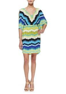 Trina Turk Seren Slit-Sleeve Striped Dress