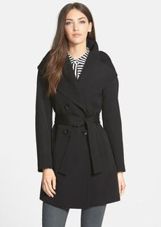 Trina Turk 'Shelly Ali' Hooded Wool Gabardine Wrap Coat