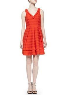 Trina Turk Shendi Striped Tweed Pleated Dress