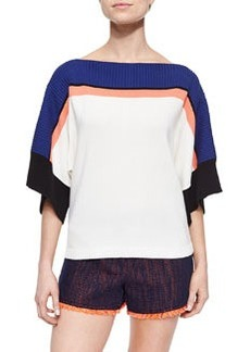 Trina Turk Short-Sleeve Oversized Colorblock Top