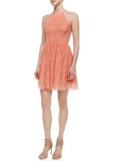 Trina Turk Sleeveless Halter Lace Party Dress, Papaya