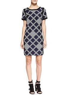 Trina Turk Trish Geometric-Print Solid-Trim Dress