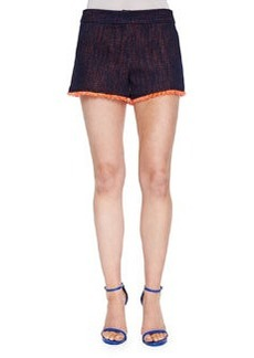 Trina Turk Tweed Short Shorts W/ Fringe Trim