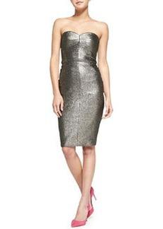 Trina Turk Volare Strapless Metallic Pencil Dress