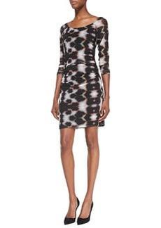 Trina Turk Zane Ink Blot-Print Ruched Dress