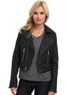 True Religion Black Coated Moto Jacket