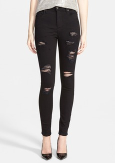 True Religion Brand Jeans 'Halle' High Rise Destructed Jeans (Black Bleach)