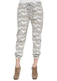 True Religion Camo-Print Elastic-Cuff Pants