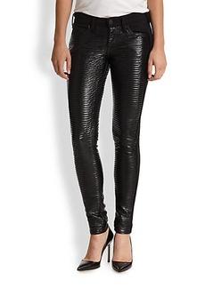 True Religion Casey Ribbed Vegan Leather-Paneled Skinny Jeans