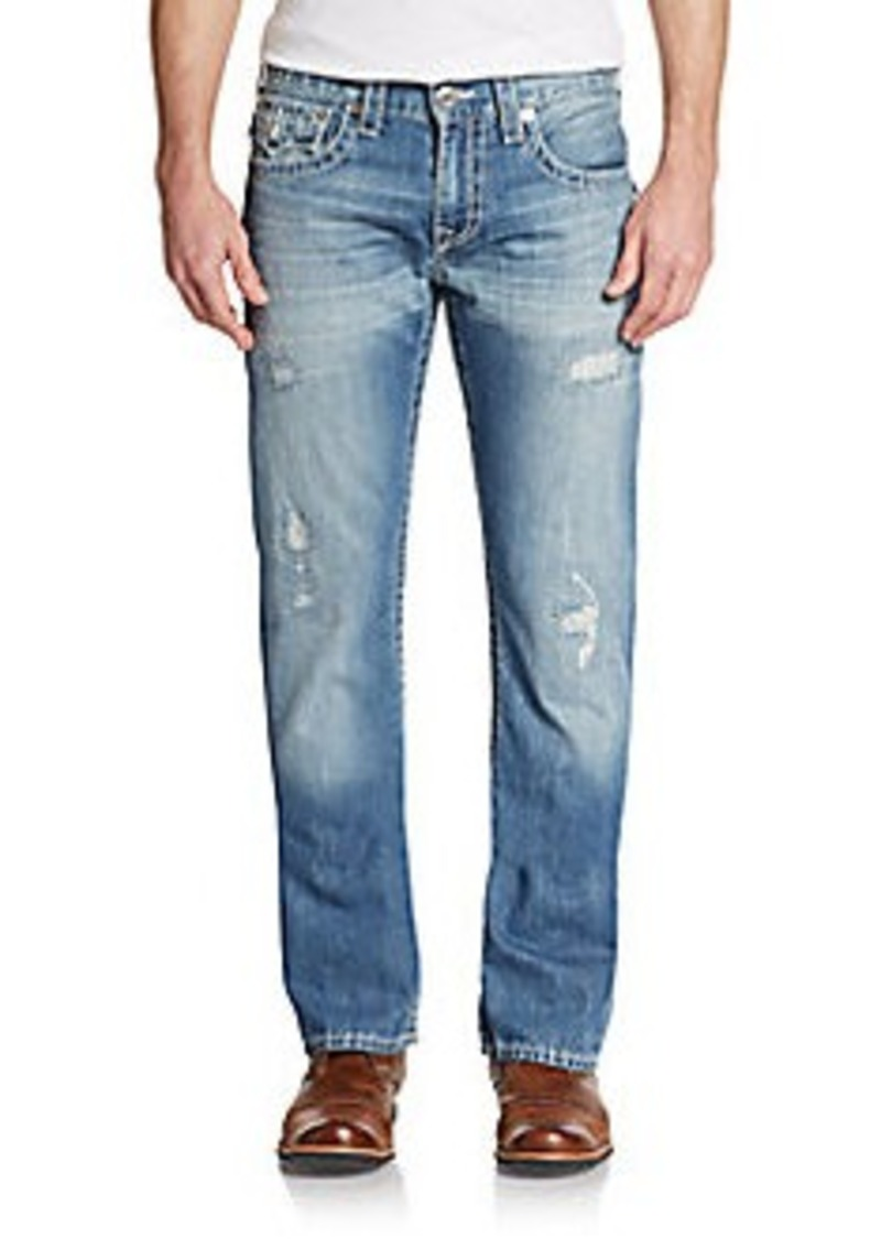 true religion distressed straight leg jeans shop it to me all sales in one place shop it to me. Black Bedroom Furniture Sets. Home Design Ideas