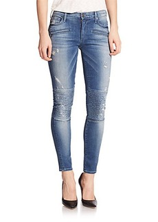 True Religion Halle Distressed Skinny Moto Jeans