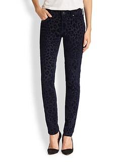 True Religion Halle Flocked Leopard Velvet Skinny Jeans