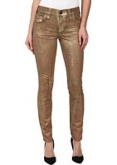 True Religion Halle Super Skinny Legging in Metallic Gold
