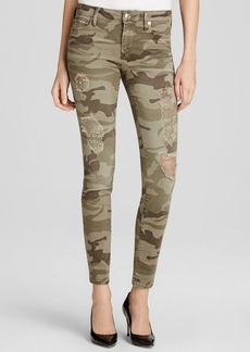 True Religion Jeans - Halle Mid Rise Super Skinny in Destroyed Camo