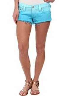 True Religion Joey Cut Off Ombre Shorts in Turquoise