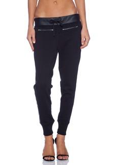 True Religion Leather Panel Zip Pant