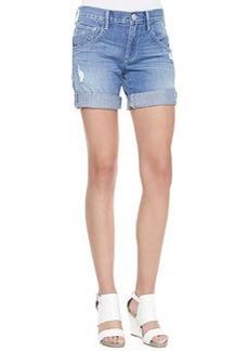 True Religion Miles Distressed Cuffed Jeans Shorts, White Gardenia