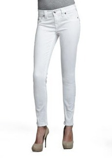 True Religion Serena Mid-Rise Super Skinny Jeans with Flap, Optic White