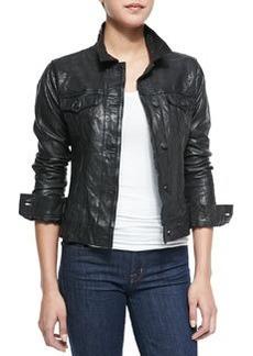 True Religion Washed Leather Dusty Western Jacket