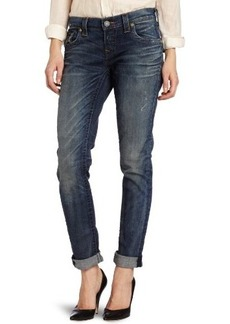 True Religion Women's Cameron Slim Boyfriend Jean with Flap in Defiance