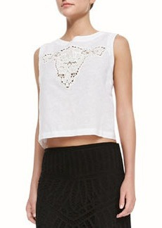 12th Street by Cynthia Vincent Bull Embroidered Crop Top