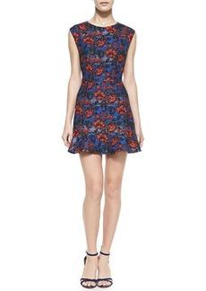 12th Street by Cynthia Vincent Cap-Sleeve Floral Flounce-Hem Mini Dress