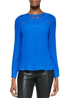 12th Street by Cynthia Vincent Embroidered/Netted-Yoke Blouse