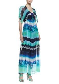 12th Street by Cynthia Vincent Empire-Waist Silk Kimono Maxi Dress