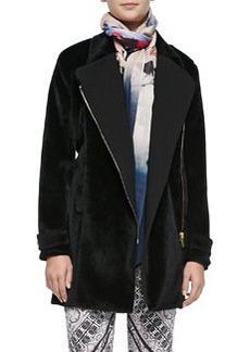 12th Street by Cynthia Vincent Faux-Hairhide & Knit Trench Coat