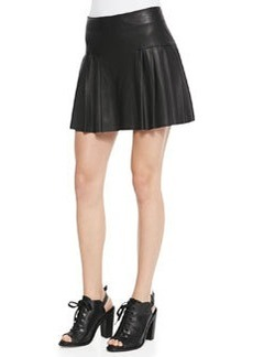 12th Street by Cynthia Vincent Faux-Leather Pleated Mini Skirt