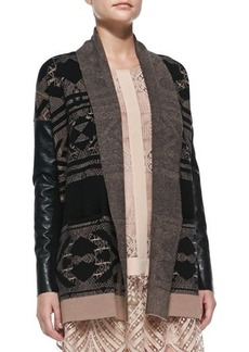 12th Street by Cynthia Vincent Faux-Leather-Sleeve Knit Log Cabin Cardigan