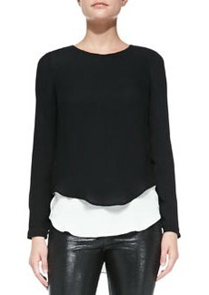 12th Street by Cynthia Vincent Georgette Double-Layer Blouse