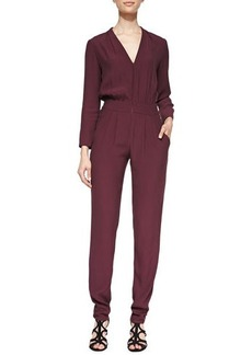12th Street by Cynthia Vincent Long-Sleeve Pleated Zip-Front Jumpsuit