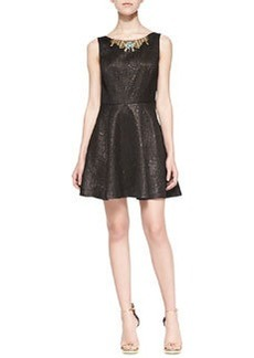 12th Street by Cynthia Vincent Paisley Party Dress W/ Embellished Front & Back